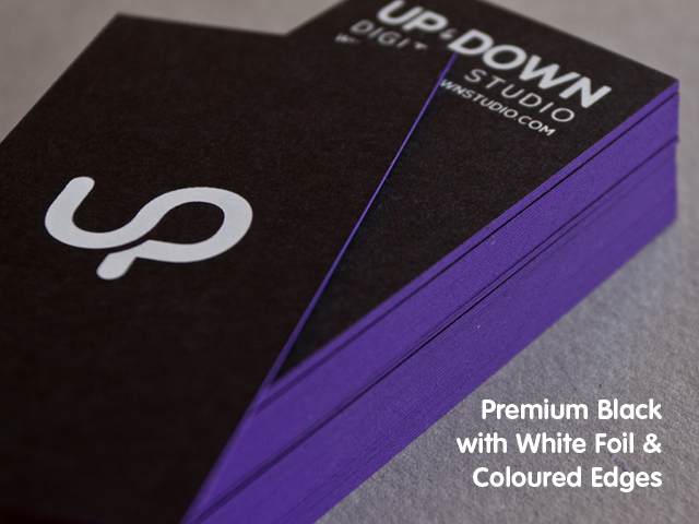 Premium black business cards exclusively from jukeboxprint choose from our four unique stocks reheart Image collections