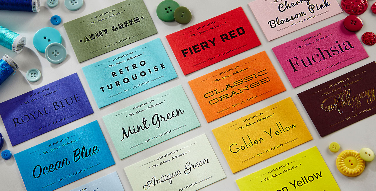 Coloured Paper Business Cards from Jukebox Print - Jukeboxprint.com