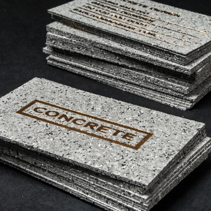 Concrete Style Business Cards with Gold Foiling