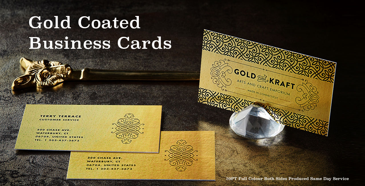 Gold Coated Business Cards from Jukebox Print