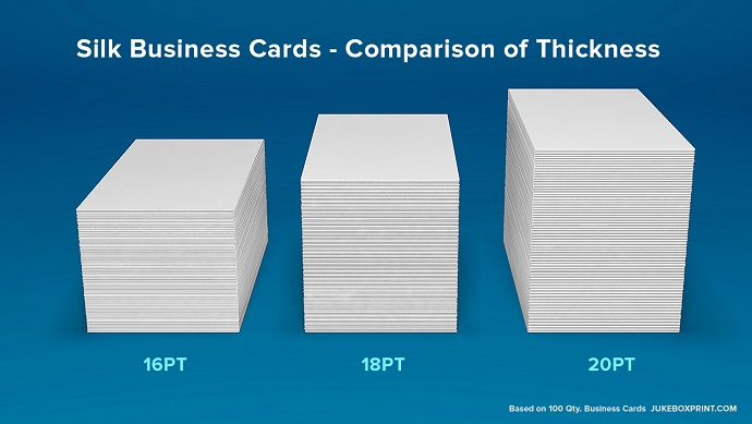 Smooth silk matte business cards from jukeboxprintcom for Thickness of business card
