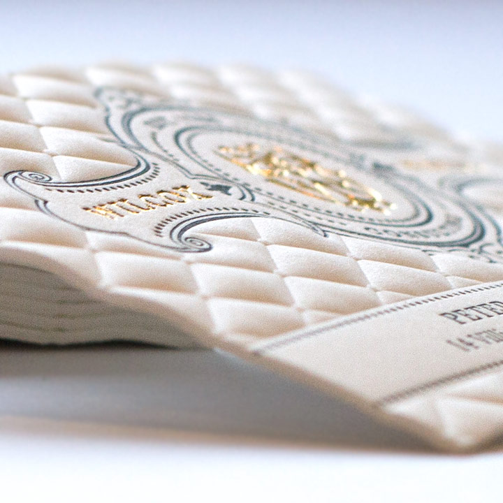 3D Embossed Business Cards with Gold Foil and Letterpress Printing ...