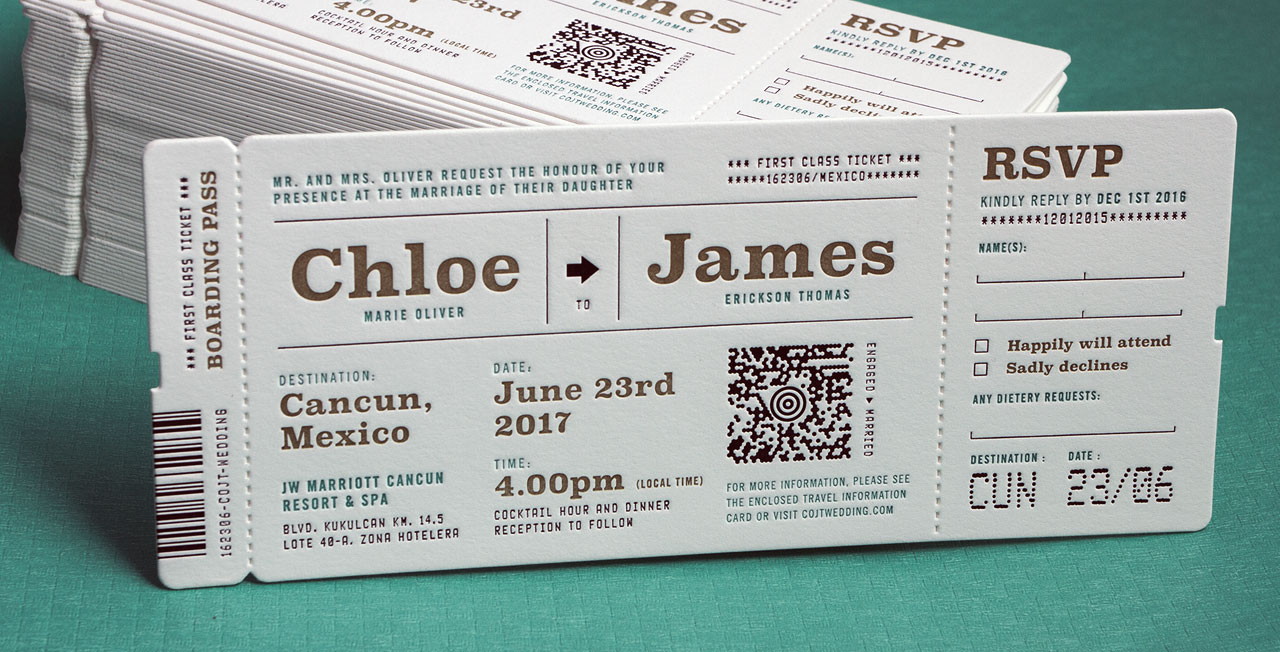 Wedding Invitation Tickets: Custom Printed Wedding Invitations