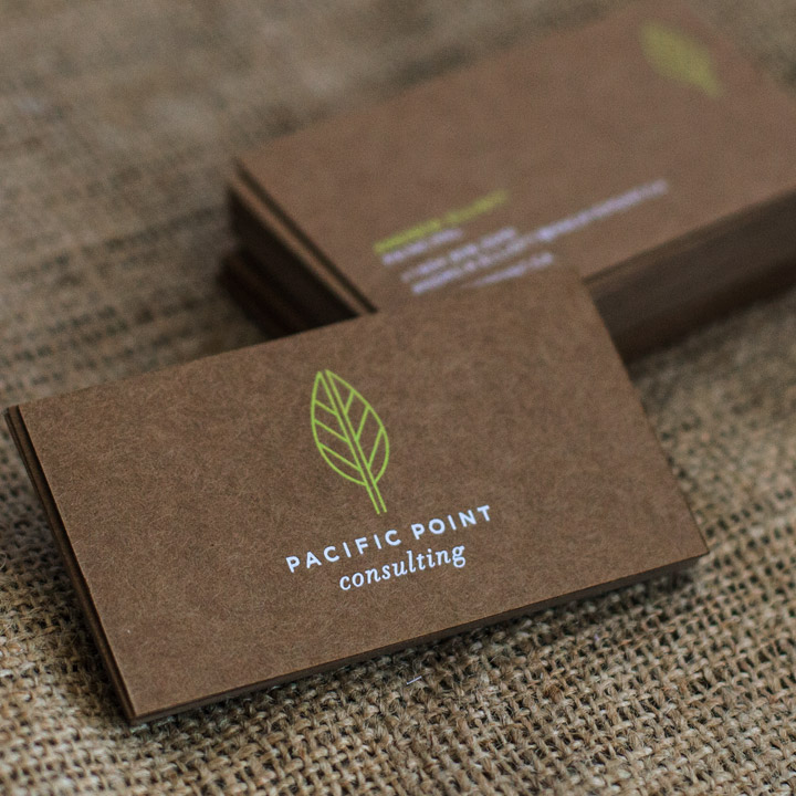 Vibrant Dark Brown Kraft Business Cards With White And