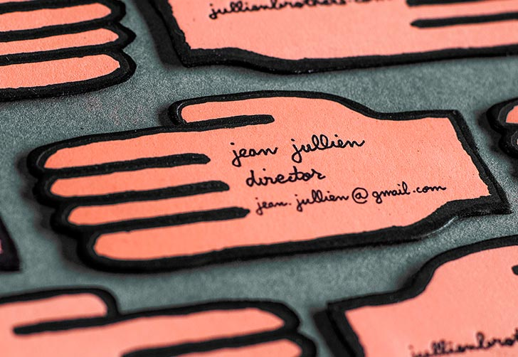 Jean jullien business cards jukeboxprint these creative letterpress business cards feature the concept and design of the world renowned designer jean jullien to best show off his unique style of magicingreecefo Gallery