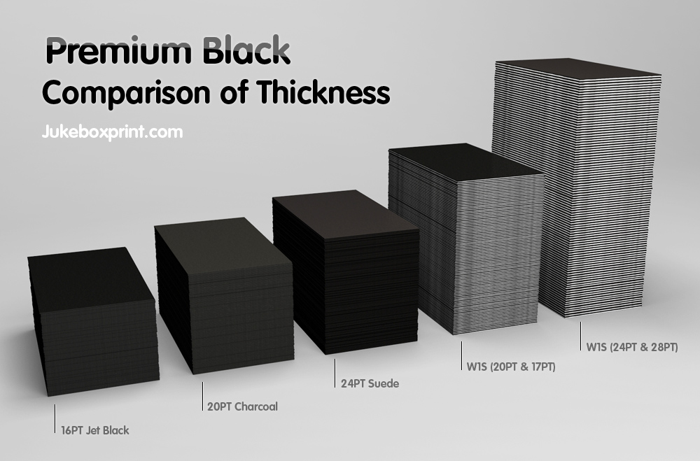 Premium black business cards exclusively from jukeboxprintcom for Thickness of business card